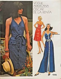 Oscar De La Renta halter dress sewing pattern, Vogue Americana Front-buttoned dress in slightly below knee or ankle length has Vogue Patterns, Fashion Patterns, Vogue Vintage, Vintage Fashion, 70s Fashion, Vintage Style, Sundress Pattern, Robes Vintage, Miss Dress