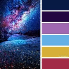 Shades of a starry night sky over a grassy lane (photo credi Colour Pallette, Color Palate, Colour Schemes, Color Combos, Galaxy Colors, Starry Night Sky, Night Stars, Design Seeds, Colour Board
