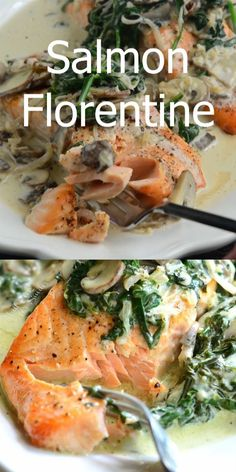 Light creamy salmon dish that s easy to make and done in about 20 minutes Salmon Florentine is made with juicy tender baked salmon and topped with creamy spinach and mushrooms salmon easydinner creamy florentine spinach Salmon Recipe Pan, Baked Salmon Recipes, Chicken Recipes, Salmon Stovetop Recipes, Skin On Salmon Recipes, Meals With Salmon, Salmon With Sauce, Salmon Cream Sauce, Simple Fish Recipes
