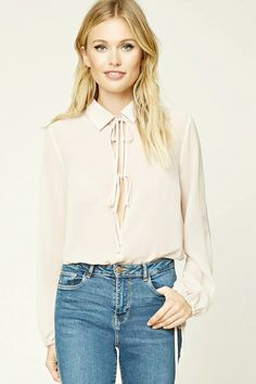 Forever 21 Contemporary - A bodysuit featuring a sheer woven top with a self-tie basic collar, a plunging neckline with a self-tie, long sleeves with self-tie cuffs, an elasticized waist, and a knit bottom with a dual snap-button closure.
