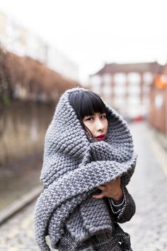 Grey, via Style Slicker  - Garter Stitch goodness- yes, please.