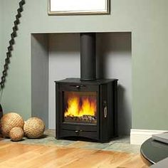 Firebelly Stoves Fb Contemporary Wood Burning Stove Desert Sage Colour Of The Wall