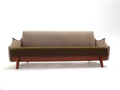 Norwegian Mid Century Green and Grey Wool Four Seater Sofabed in Teak Retro Furniture, Antique Furniture, Mid Century Furniture, Sofa Bed, Green And Grey, Teak, 1960s, Wool, Antiques