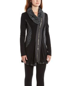 Another great find on #zulily! Black & Charcoal Geometric Asymmetrical Zip-Up Tunic - Women by La-El Couture #zulilyfinds
