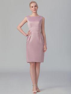 Boat Neckline Satin Dress; Color: Ash Rose; Sizes Available: 2-26W, Custom Size; Fabric: Satin