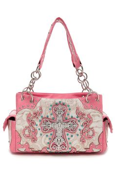 Cross And Various Stones Accented Double Pockets Satchel Bag #GetEverythingElse #Satchel