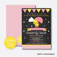 April Shower Pink... http://partyandprintables.com/products/april-shower-pink-duck-chalkboard-baby-shower-invitation-editable-instant-download-cbs-35?utm_campaign=social_autopilot&utm_source=pin&utm_medium=pin #partyprintables #birthdayinvitation #partysupplies #partydecor #kidsbirthday #babyshower