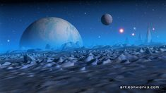 Blue evening, space landscape made in Blender and GIMP Space Story, Alien Planet, Space Planets, Alien Worlds, Wallpaper Free Download, Outer Space, Night Skies, Astronomy, Cover Art