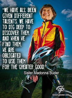 Sister Madonna Buder, aka the Iron Nun, is the oldest person to finish an Ironman triathlon. The Ironman Triathlon is on my bucket list, and she is my inspiration to keep training. I just can't imagine having kids AND being able to achieve that dream! Triathlon Motivation, Training Motivation, Fitness Motivation, Exercise Motivation, Fitness Quotes, Fitness Goals, Ironman Triathlon, Triathlon Training, Marathon Training