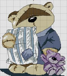 МИШКИ... ЧАСТЬ 6 Cross Stitch For Kids, Cross Stitch Cards, Cross Stitch Baby, Cross Stitch Animals, Cross Stitching, Cross Stitch Embroidery, Cross Stitch Designs, Cross Stitch Patterns, Teddy Bear Crafts
