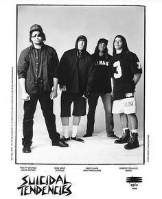 Suicidal Tendencies, promocard from 1990Rocky George, Mike Muir, Mike Clark and Robert Trujillo