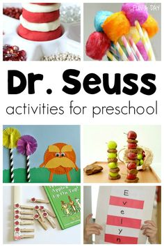 These Dr. Seuss activities and preschool crafts are perfect for a kindergarten or preschool Dr. I love that there are math literacy sensory science and snack Dr. Seuss activities for kids to try. AND a free printable planning sheet! Dr Seuss Activities, Preschool Themes, Preschool Lessons, Preschool Learning, Kindergarten Activities, Math Literacy, Preschool Crafts, Preschool Activities, Crafts For Kids