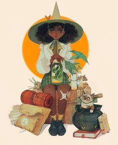 """I forgot how to render so I did a study of a Norman Rockwell painting with my character"" Cartoon Kunst, Cartoon Art, Black Girl Art, Art Girl, Pretty Art, Cute Art, Witch Characters, Witch Drawing, Norman Rockwell Paintings"