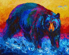 Scouting For Fish - Black Bear Painting by Marion Rose - Scouting For Fish - Black Bear Fine Art Prints and Posters for Sale