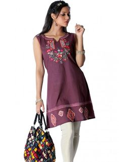 Chocolate Brown Cotton A Line Tunic