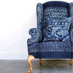 Wing chair in indigo Upholstered Chairs, Wingback Chair, Chair Cushions, Wing Chair, Take A Seat, White Decor, Provence, Upholstery, Furniture Design
