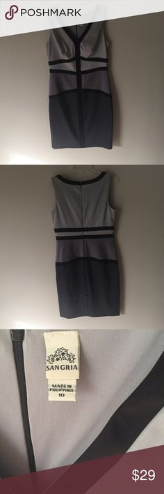 Party dress in gray and black Sleeveless v neck satin party or classy club dress. Hits just above the knee. Worn only once. Sangria Dresses