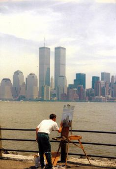 A man painting the Twin Towers. 1980s