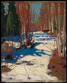 I really like the brush technique and use of light, wish i could do that. Tom Thomson, Path Behind Mowat Lodge, 1917