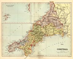 Lovely old Map of Cornwall