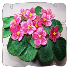 3D Pink African Violets Machine Embroidery Design