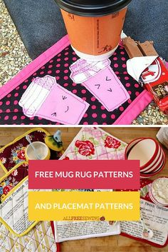 53 Free Mug Rug Patterns and Placemat Patterns | Free mug rug patterns don't get much better than this!