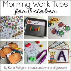 Morning Work Tubs for Kindergarten {October} - Let your kinder students work through these 20 activities. You get materials that need very little planning or prep. Grab a few classroom supplies - such as math manipulatives and playdough - and you'll be on your way. Student instruction cards and all activities are included. Great to celebrate the fall months and have some pumpkin fun. Click for more details! Great for the classroom OR homeschool.
