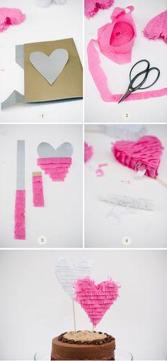 Como hacer estos toppers para pastel de boda usando papel de seda