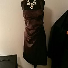 Brown cocktail dress Halter top satin feel (polyester/spandex) size 11 Studio Y Dresses Midi