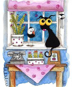 Original watercolor painting whimsical Stressie Cat spider crow cactus waiting  #IllustrationArt