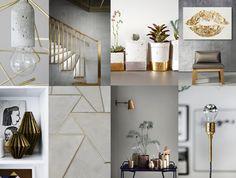 Bright greys Grijs is nog altijd toonaangevend in interieurs; goud geeft 't net die extra sparkle. Hieronder een mix van industrieel en Scandinavisch met lichte grijstinten, goud en wit, grafische en geometrische vormen, beton en planten.
