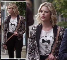 Hanna's animal print blazer and bow tie/eiffel tower top on Pretty Little Liars.  Outfit Details: https://wornontv.net/10888/ #PLL