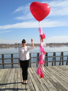 36 inch Heart shaped Balloon and Valentine Tassel by StudioMucci