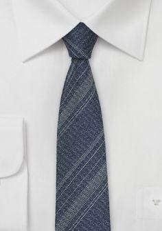 Krawatte Seide Woll-Stil marineblau