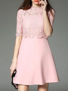 Pink Plain Half Sleeve Cotton-blend A-line Mini Dress Simple Dresses, Pretty Dresses, Casual Dresses, Short Dresses, Fashion Dresses, Formal Dresses, Mini Dresses, Batik Dress, Lace Dress