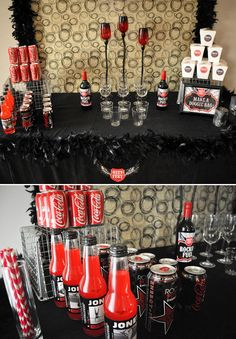 Table set up. I love the red and black theme!