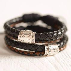 Personalised leather bracelets.