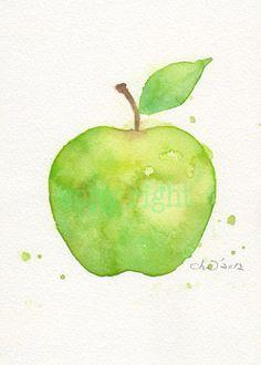Fruit, fruit art print, art, watercolor painting, watercolor art Japanese paper print, watercolor,Green apple----Original watercolor print. $18.00, via Etsy.