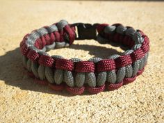 Paracord bracelet parachute cord Crimson and Grey by Roll Tide! RushParacord, $8.00