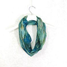 Cobweb Felted Scarf Wool Scarf Winter Scarf Green by Fibernique