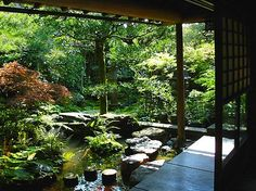 Private garden in the former samurai district of Kanazawa. Japanese garden, Japan Nature