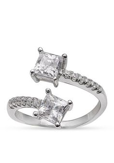 Belk Silverworks Forever Together Swarovski Cubic Zirconia Open Bypass Ring in Sterling Silver