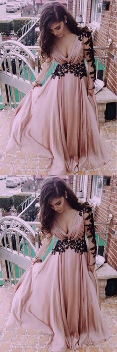 V-Neck Long Sleeve Lace Prom Dresses Evening Dresses PG 245 #promdresses