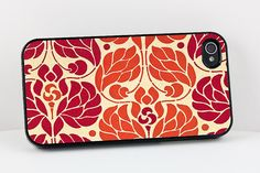 vintage style orange and red floral iphone case - love it