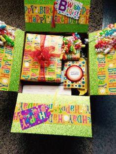Birthday care package I made for daughters birthday. I used USP box and gi… – Gift Ideas 2019 - Birthday care package I made for daughters birthday. I used USP box and gi Cute Birthday Gift, Birthday Box, Friend Birthday Gifts, Birthday Gifts For Boyfriend, Birthday Crafts, Daughter Birthday, Birthday Nails, Birthday Parties, Happy Birthday