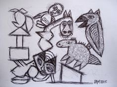 PJ Ott (mercury) automatic drawing, primitive surrealism, outsider art