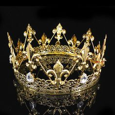 Buy Men''s Imperial Medieval Fleur De Lis Gold King Crown High Diameter at Wish - Shopping Made Fun Gold King Crown, Kings Crown, Queen Crown, Royal Crowns, Royal Jewels, Tiaras And Crowns, Crown Aesthetic, Queen Aesthetic, Crown Pictures