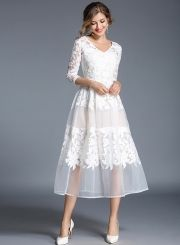 2018 Lace Dress Women Robe Embroidery Dresses White Party Dress – Ozzy Bella All Great Apparel Lace Summer Dresses, Sexy Dresses, Evening Dresses, Wedding Dresses, Long Dresses, Midi Dresses, Autumn Dresses, Vestidos Sexy, Dress Vestidos
