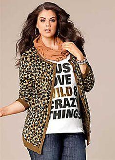 Leopard Print Cardigan plus size.