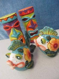 Lively with Color Party S\P Shakers Fish Southwest and Totem Tiki S\P Shakers